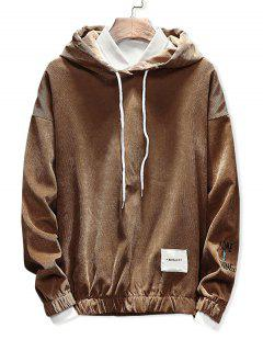 Edge Elastic Design Corduroy Hoodie - Coffee Xl