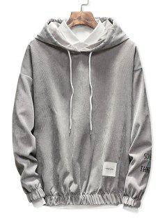 Edge Elastic Design Corduroy Hoodie - Gray Cloud L