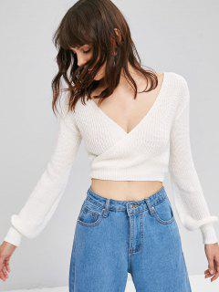 Tie Up Wrap Cropped Sweater - White S