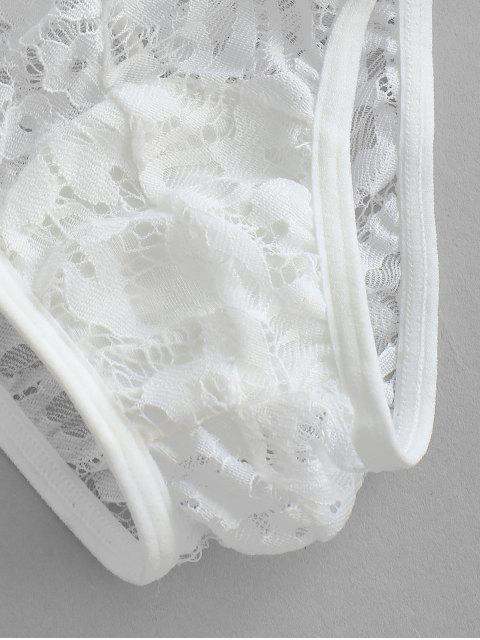 shop Sheer Eyelash Lace Bra and Panty Lingerie Set - WHITE L Mobile