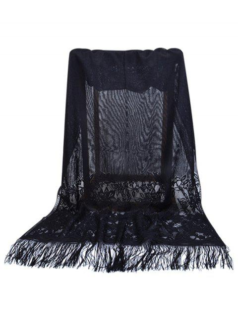 fancy Elegant Floral Lace Fringed Silky Scarf - BLACK  Mobile