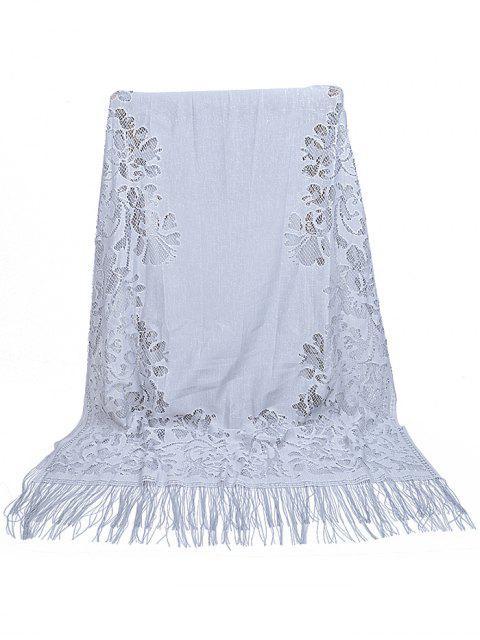 Bufanda larga de encaje floral vintage ahueca hacia fuera - Ganso Gris  Mobile