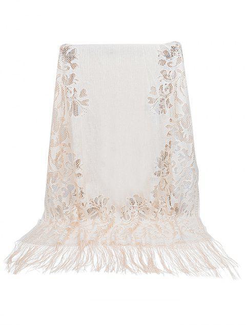 women's Vintage Hollow Out Floral Lace Long Scarf - BEIGE  Mobile