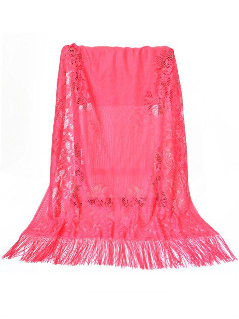 ladies Vintage Hollow Out Floral Lace Long Scarf - WATERMELON PINK  Mobile