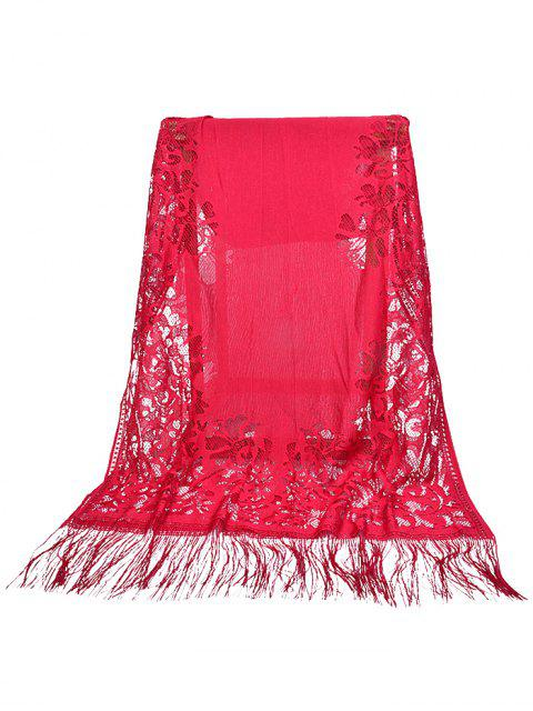 lady Vintage Hollow Out Floral Lace Long Scarf - RED WINE  Mobile
