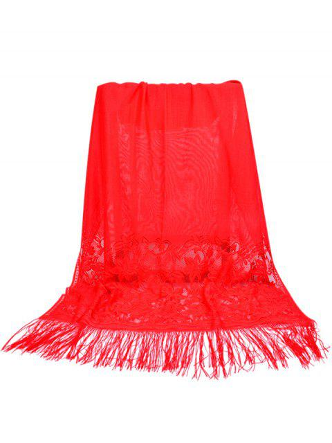 best Elegant Floral Lace Fringed Silky Scarf - FIRE ENGINE RED  Mobile