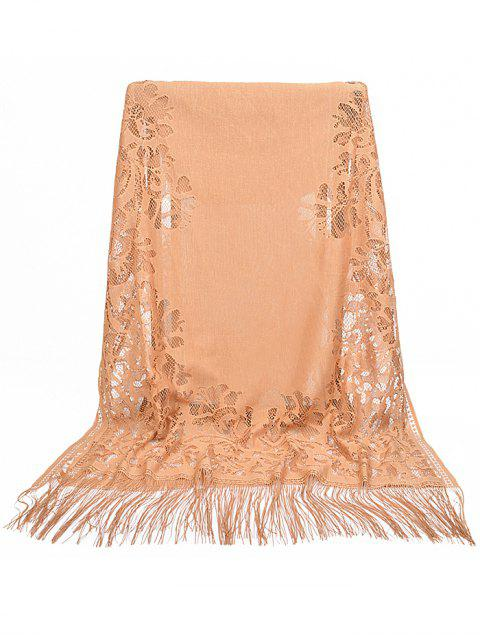 online Vintage Hollow Out Floral Lace Long Scarf - KHAKI ROSE  Mobile