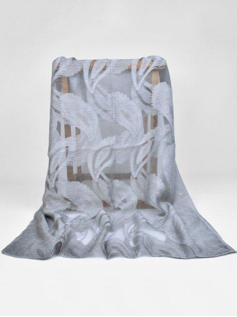 hot Feather Pattern Decorative Long Sheer Scarf - GRAY CLOUD  Mobile