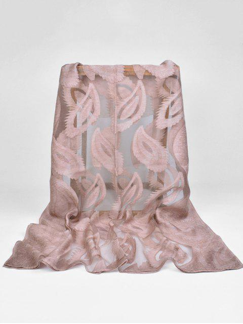 fashion Feather Pattern Decorative Long Sheer Scarf - COFFEE  Mobile