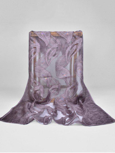 fancy Feather Pattern Decorative Long Sheer Scarf - DULL PURPLE  Mobile