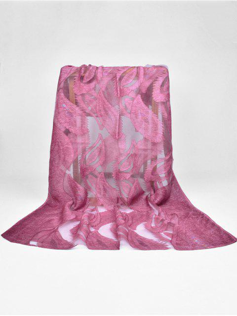 unique Feather Pattern Decorative Long Sheer Scarf - DARK ORCHID  Mobile