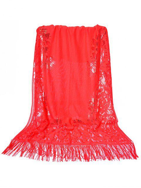 Vintage évider dentelle florale longue écharpe - Rouge de Pompier  Mobile