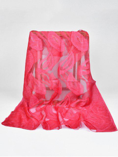 womens Feather Pattern Decorative Long Sheer Scarf - FIRE ENGINE RED  Mobile