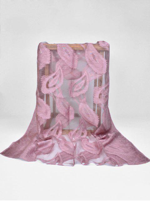 women Feather Pattern Decorative Long Sheer Scarf - MAUVE  Mobile