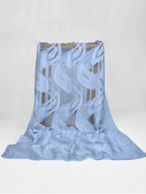 women's Feather Pattern Decorative Long Sheer Scarf - BLUE GRAY  Mobile