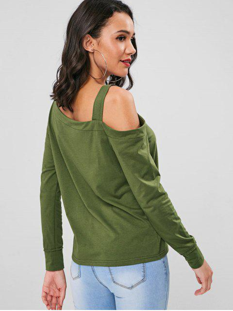 affordable Straps Cut Out Top - FERN GREEN L Mobile