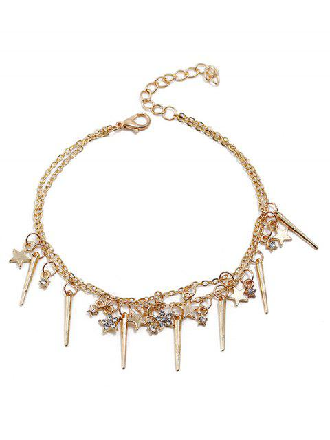 women Double Layer Stars Pendant Beach Chain Anklet - GOLD  Mobile