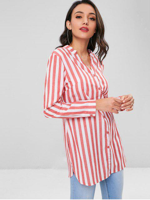 ladies Knotted Striped Shirt - VALENTINE RED S Mobile