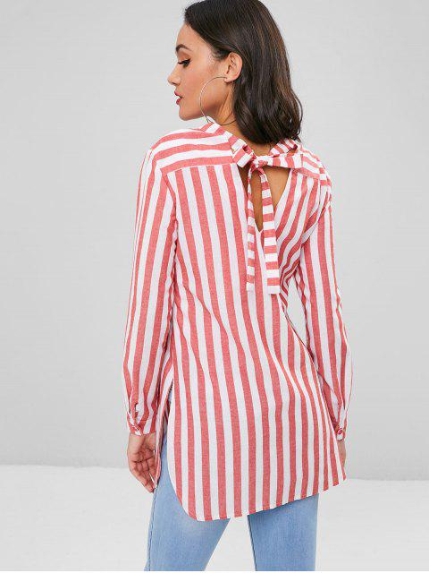 lady Knotted Striped Shirt - VALENTINE RED M Mobile