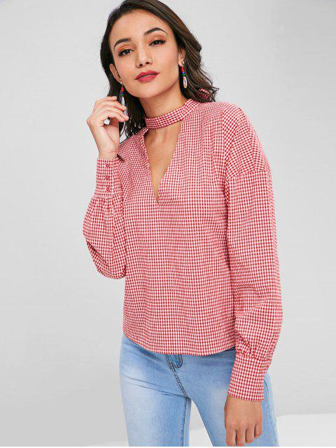 hot Choker Gingham Top - LOVE RED L Mobile