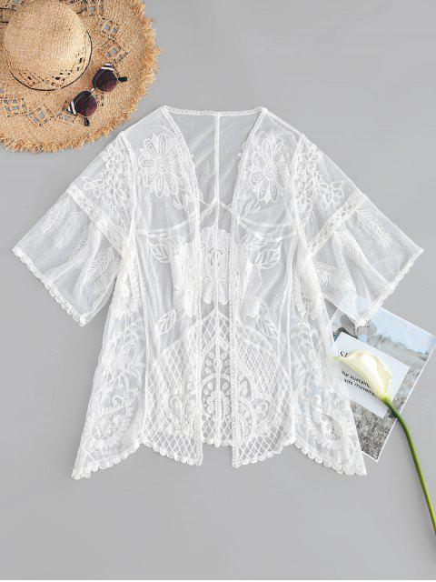 women's Scallop Embroidered Kimono - WHITE ONE SIZE Mobile