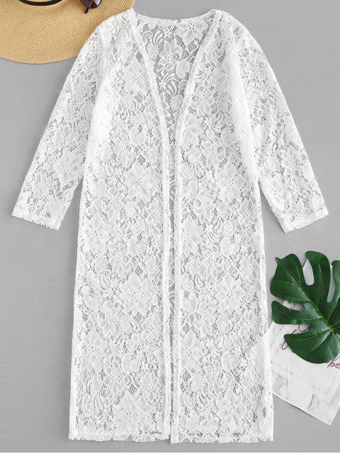 Kimono en Dentelle Florale - Blanc Taille Unique Mobile