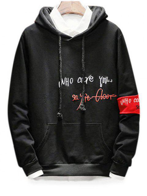 sale Drawstring Embroidery Letter Graphic Hoodie - BLACK S Mobile