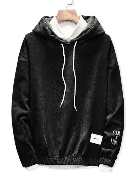 latest Edge Elastic Design Corduroy Hoodie - BLACK M Mobile