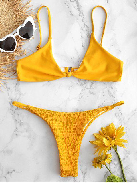 Bralette Micro Smocked Bikini Set - Niedliches Gummi Gelb S Mobile
