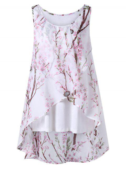 outfit Plus Size Tiny Floral Overlap Sleeveless Top - PINK 4XL Mobile