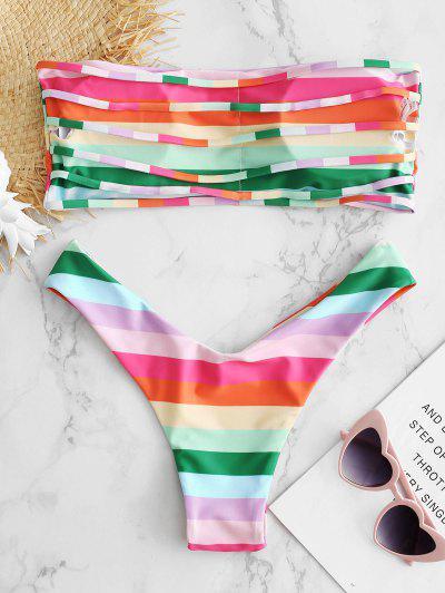 Bandeau Rainbow Color String Bikini Set, Multi-a