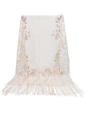 Vintage aushöhlen Blumenspitze langen Schal