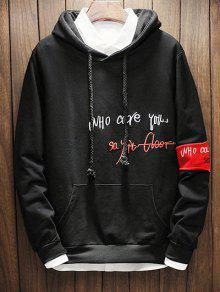 Negro Embroidery Hoodie S Letter Drawstring Graphic qSR71wFRp