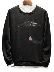 Sudadera Negro La Con Estampado De Paraguas Que Sostiene S Mano qngO1w