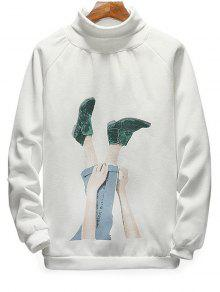 Neck Pullover Foot Blanco Sudadera S Print Turtle dcqw8aS1dx