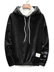 هوديي تصميم حافة مطاطا سروال قصير  - أسود M
