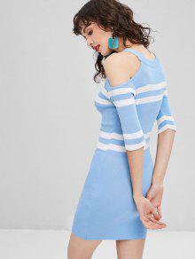 Con String Vestido Claro Bodycon Descubiertos Hombros Azul fq4Z4w7d
