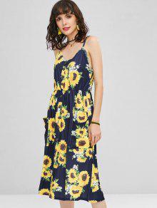a04354a6dc 43% OFF   HOT  2019 Button Sunflower Print Midi Dress In DEEP BLUE ...