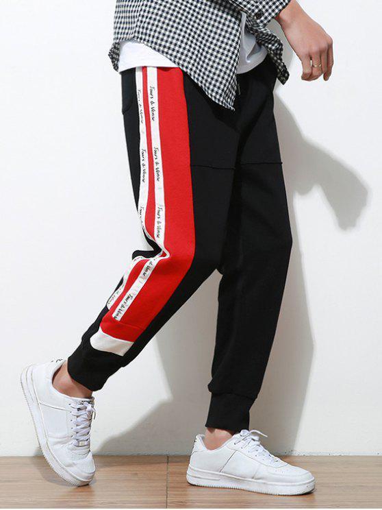 Pantaloni Da Jogging A Righe In Contrasto Con Stampa Lettere Laterali - Nero M