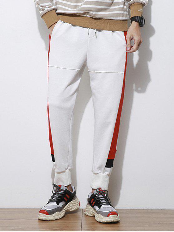 Pantaloni Da Jogging A Righe In Contrasto Con Stampa Lettere Laterali - Bianco XL