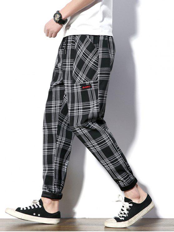 Tela escocesa de cordón nueve minutos de pantalones - Negro S