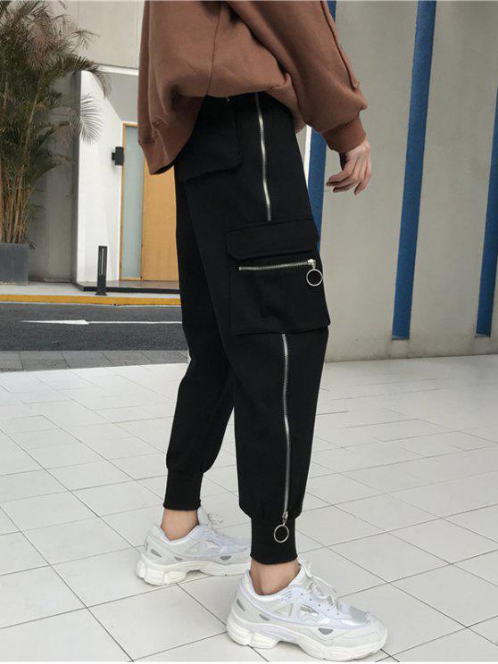 Cremalleras de bolsillo laterales Pantalones de jogging - Negro 2XL