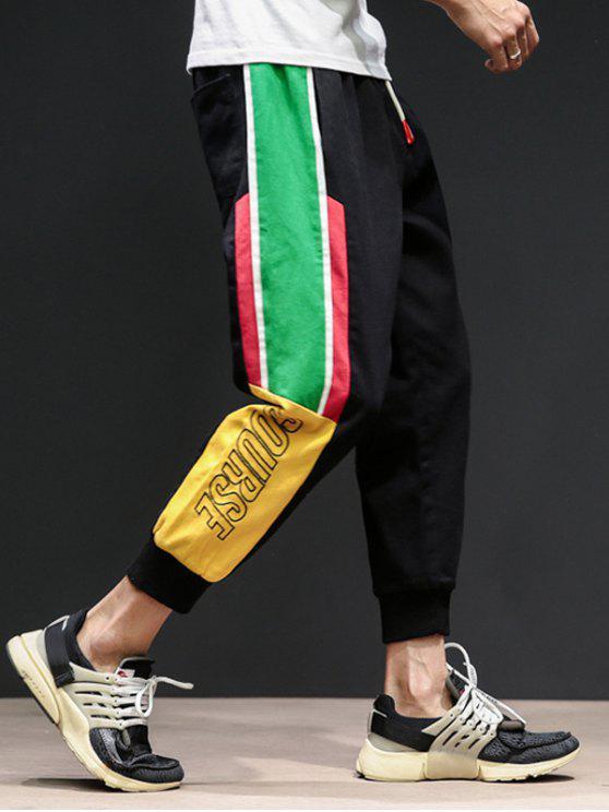 Pantaloni Harem Con Stampa Lettere A Contrasto - Nero L