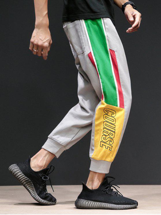 Pantaloni Harem Con Stampa Lettere A Contrasto - Grigio 2XL