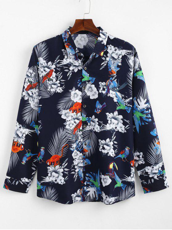 زهرة الطيور مطبوعة القميص عادية - أزرق S