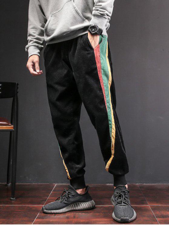 Color Block Patch Jogger Pants - Negro L