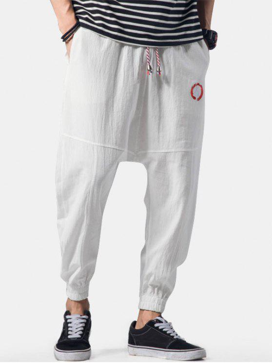 fancy Embroidery Applique Flatlock Seams Jogger Pants - WHITE XL