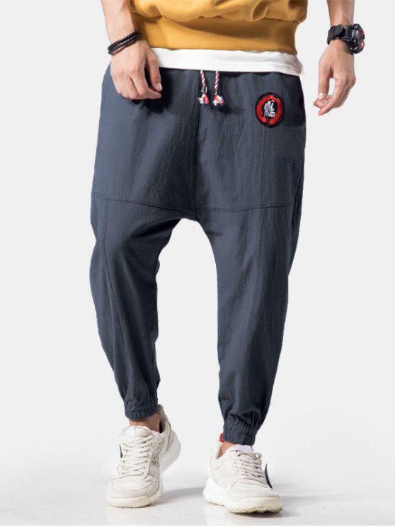 Apliques de bordado Costuras planas Jogger Pants - Gris Azulado M