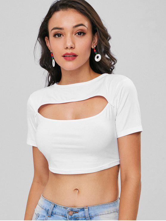 womens Cropped Cut Out Tee - WHITE M