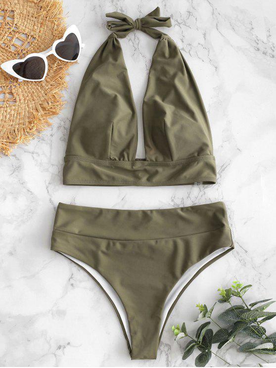 fashion Halter High Waisted Bikini Set - ARMY GREEN L